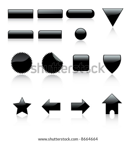 Vector - 3D Web 2.0 icon set labels with reflection. - stock vector