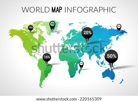Vector 3d world map with points and percantage. Triangle green blue travel globe world map infographic concept - stock vector