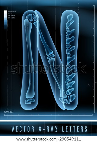 Vector 3D X-ray transparent alphabet use in logo or text. Letter N - stock vector