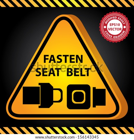 Vector : 3D Yellow Glossy Style Triangle Caution Plate For Safety Present By Fasten Seat Belt With Seat Belt Sign in Dark Background - stock vector