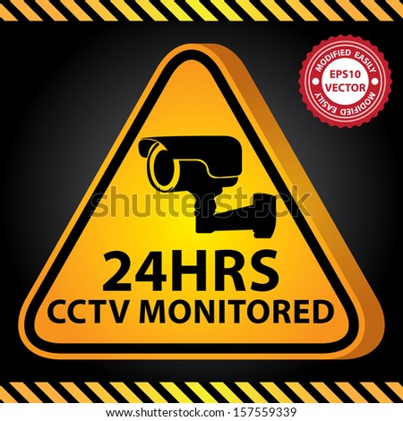 Vector : 3D Yellow Glossy Style Triangle Caution Plate For Safety Present By 24HRS CCTV Monitored With CCTV or Surveillance Camera Sign in Dark Background  - stock vector