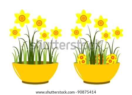 vector daffodils in bowl on white background