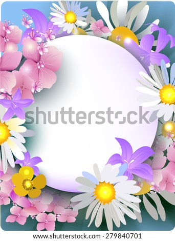vector daisies, buttercups, bluebells, hydrangea bouquet of summer flowers for greeting cards, banners, greeting cards, wedding invitations, brochures, business cards, flyers - stock vector