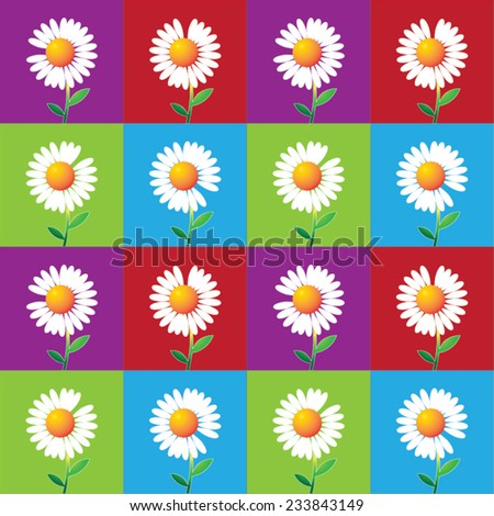 Vector daisy flower background with colors. Daisy fortune. - stock vector