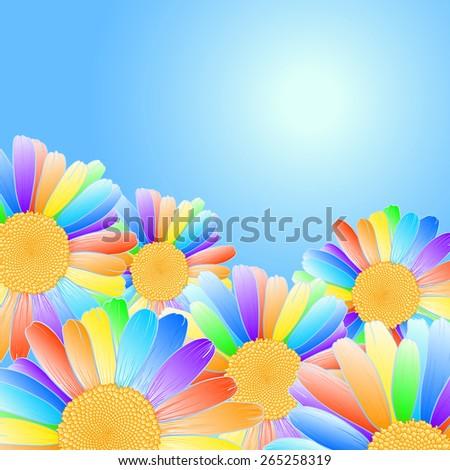 Vector daisy flowers with rainbow petals on blue sky background. - stock vector