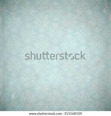 Vector damask background. Grunge style with scratches. - stock vector