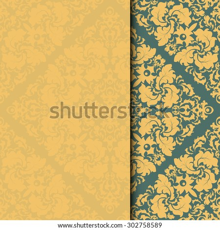 Vector damask frame. Easy to scale and edit. Pattern is included as seamless swatch - stock vector