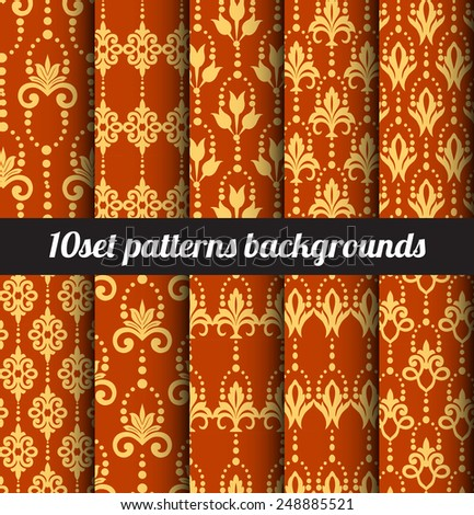 Vector damask pattern background - stock vector