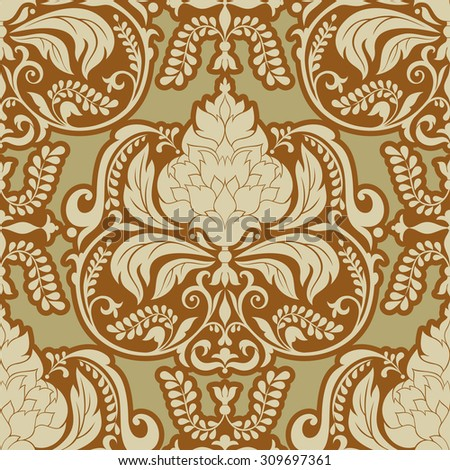 Vector Damask pattern design, Royal ornamental background, rich, old style, luxury fashioned seamless pattern, vintage wallpaper, floral wrapping paper, swatch fabric for decoration and design - stock vector