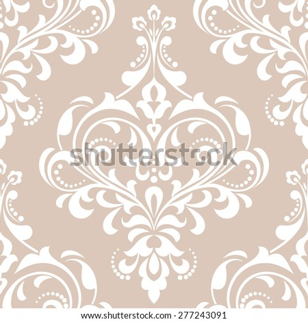 Vector damask seamless pattern background. Elegant luxury texture for wallpapers, backgrounds. Floral ornament. - stock vector