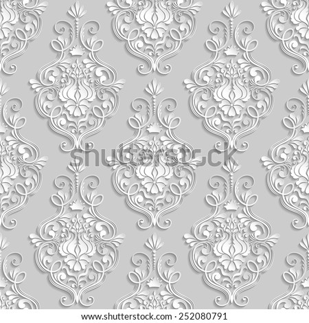 Vector damask seamless pattern. Elegant luxury texture for wallpapers, backgrounds and page fill. 3D elements with shadows and highlights. Paper cut. - stock vector