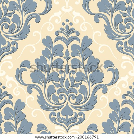 Vector damask seamless pattern element. Elegant luxury texture for wallpapers, backgrounds and page fill. - stock vector
