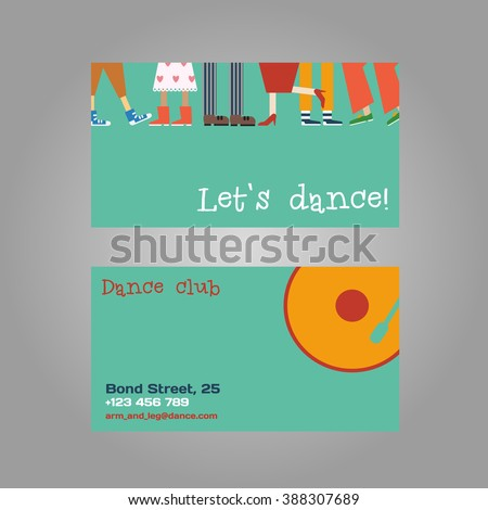 Vector dancing concept business card. Feet different couples, men and women dance modern and classical compositions - stock vector