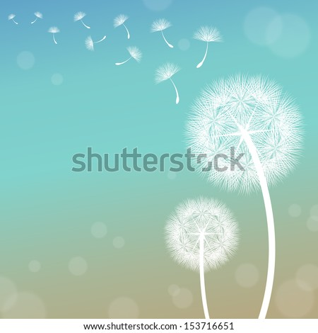 vector dandelion on a wind loses the integrity - stock vector