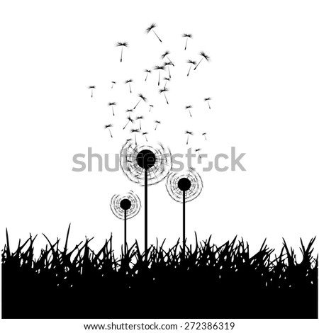 Vector dandelion seeds blown in the wind - stock vector