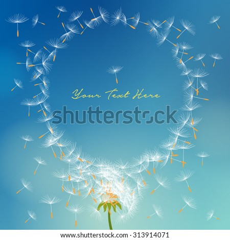 Vector dandelion with seeds flying away with the wind forming round frame - stock vector