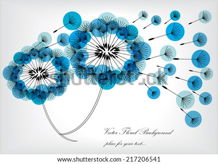 vector dandelions silhouettes with blue bubbles - stock vector