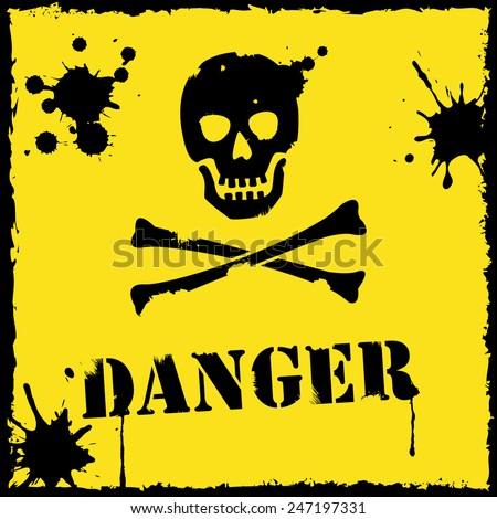 Vector danger icon yellow and black - stock vector