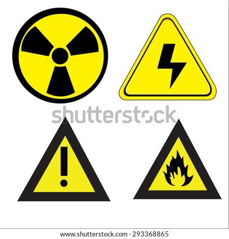 vector danger icons set - stock vector