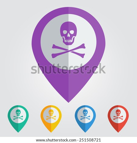 Vector danger sign in pin. Format eps10 - stock vector