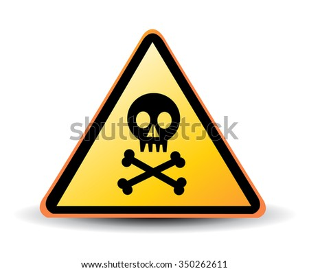 vector danger sign with skull symbol - stock vector