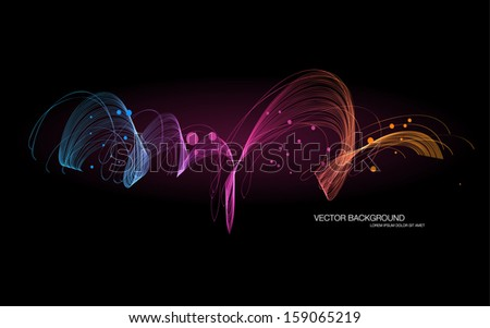 Vector dark abstract dynamic wave background - stock vector