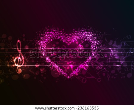 Vector dark background with a heart of musical notes - stock vector
