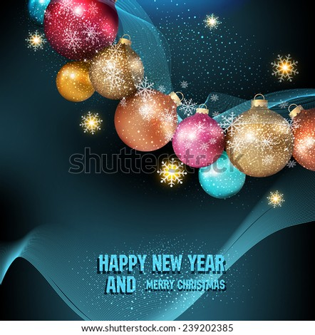 vector dark blue background with a magic Christmas balls and snowflakes - stock vector