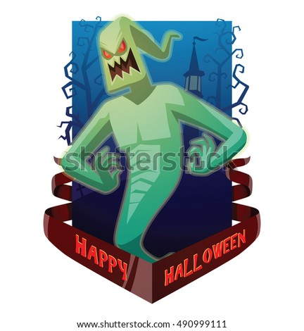 "Vector dark blue card ""Happy Halloween"" with bare trees, a cemetery, a red banner and with cartoon image of funny light green ghost with red eyes flying and grinning on a white background. Halloween."