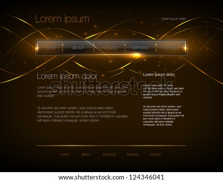 Vector dark gold web site design template with glossy navigation bar and modern glowing background - stock vector