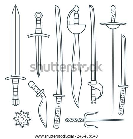 vector dark gray outline cold medieval weapons set with sword falchion glaive steel dagger dirk whiner saber saber sword katana bokken trident sai shrunken star  - stock vector