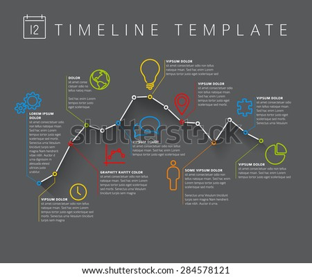 Vector dark Infographic timeline report template with minimalistic graph - stock vector