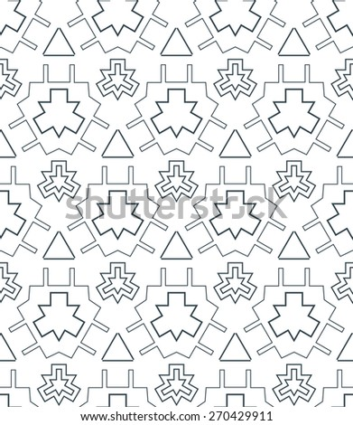 vector dark monochrome color outline abstract geometric seamless pattern white background - stock vector