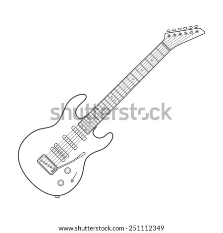 vector dark outline design white electric guitar illustration with shadows