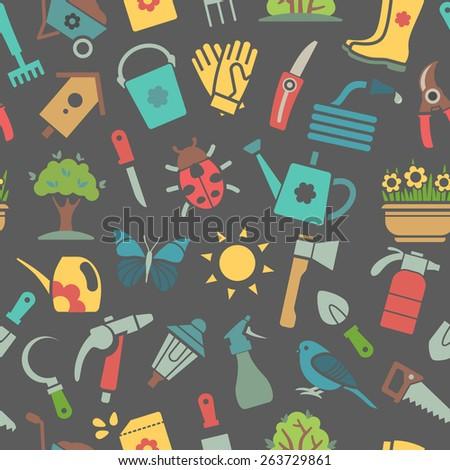 Vector dark seamless pattern of garden tools and accessories - stock vector