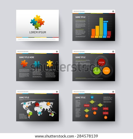 Vector dark Template for presentation slides with graphs and charts - stock vector