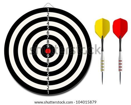 Vector dartboard with two darts on white background - stock vector