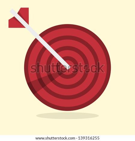 Vector darts hitting a target - stock vector