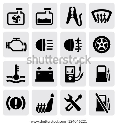 vector dashboard and auto icon set on gray - stock vector