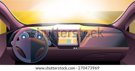 Vector: Dashboard Car Auto - stock vector
