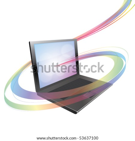 Vector Data flowing as an abstract swirl around a laptop concept - stock vector