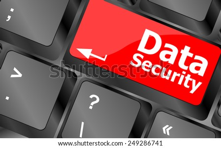 vector data security word with icon on keyboard button - stock vector