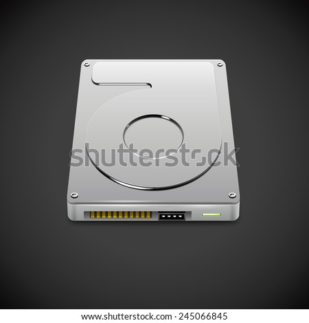 Vector Data Storage Hard Disc Drive Icon. HDD Illustration - stock vector