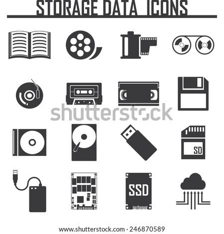 Vector data storage icons set - stock vector