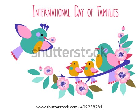 Vector Day of Families Card Template . Birds with the Baby Birds - stock vector