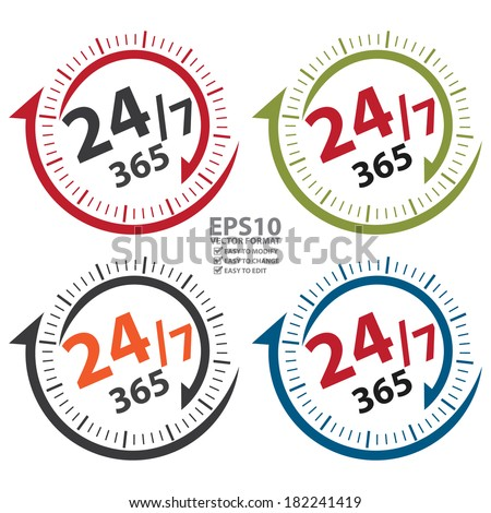 Vector : 24/7 365 Days Icon, Badge, Label or Sticker for Customer Service, Support, Call Center or CRM Concept Isolated on White Background  - stock vector
