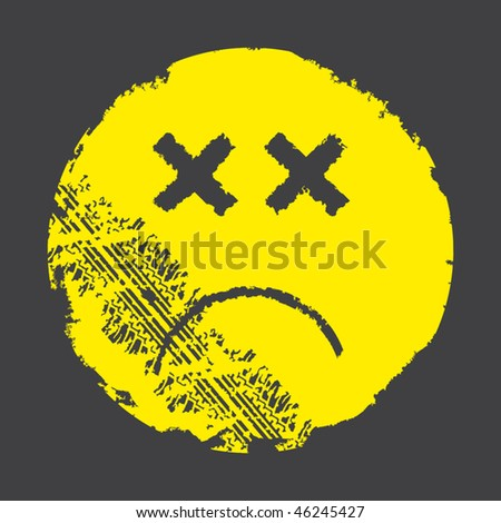 Vector Dead Smiley and Tyre Track - stock vector