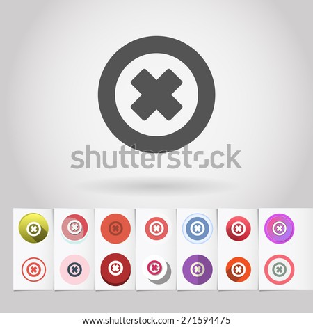 Vector decline or cancel sign icon and big set of round flat web mobile buttons on paper background - stock vector