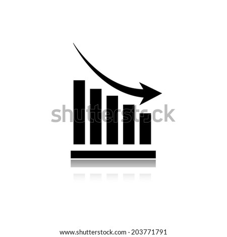 Vector declining graph icon with shadow - stock vector