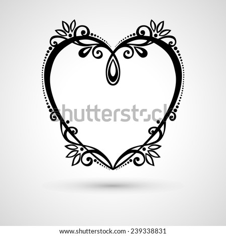Vector Deco Floral Heart on Gray Background. Design element - stock vector